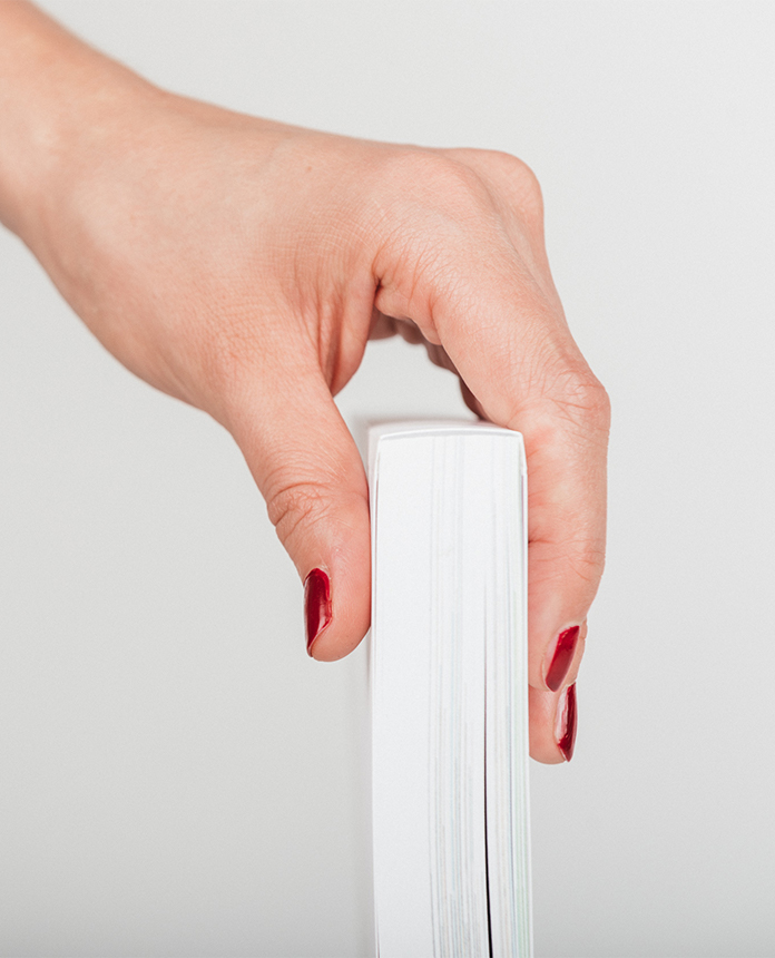 softcover with hand