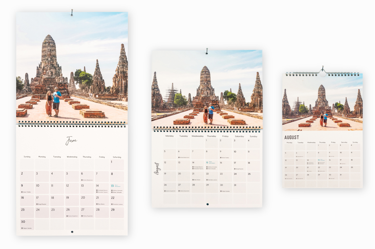 calendar 3 sizes