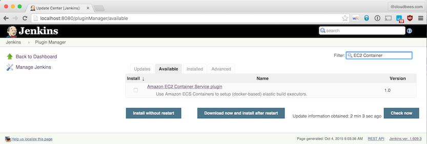 Jenkins Plugin Manager - Amazon EC2 Container Service Plugin