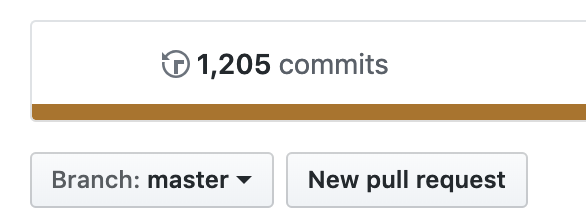 A screenshot of the GitHub view code screen showing 1205 commits on the master branch