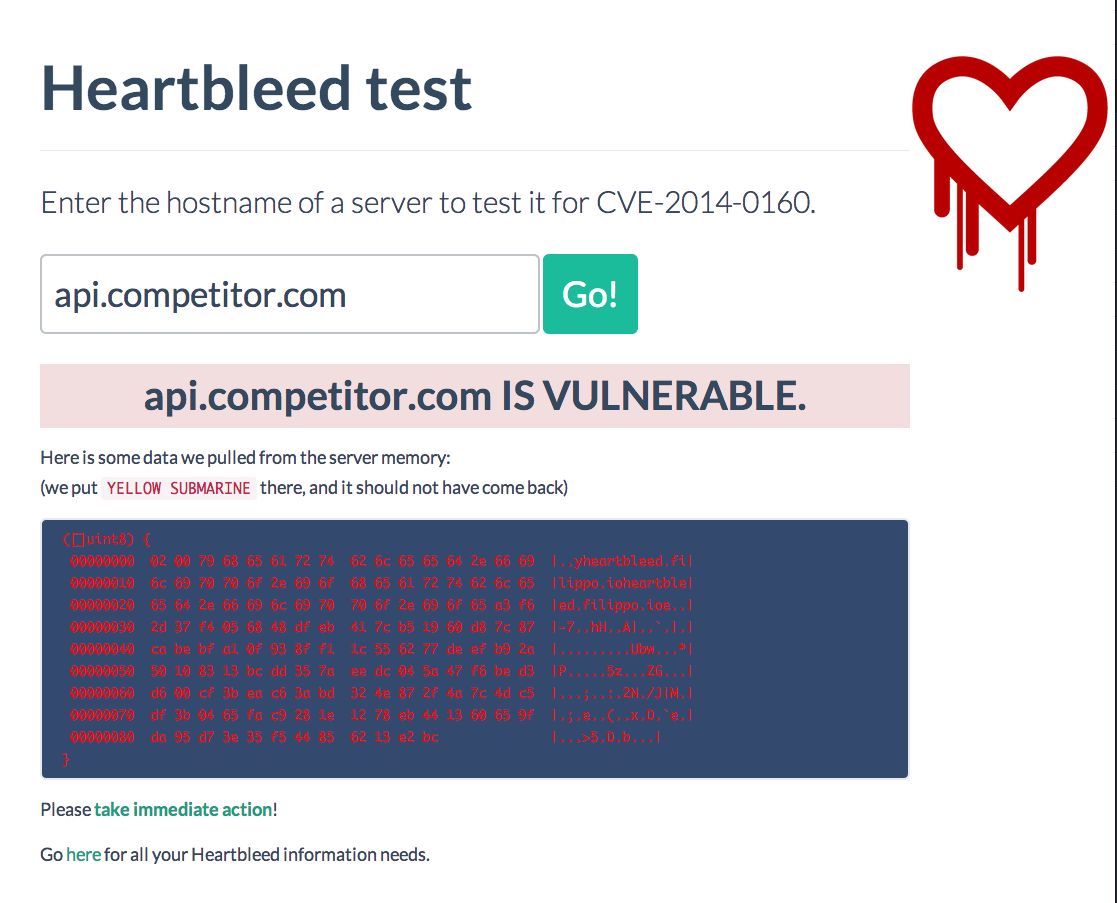Heartbleed SSL bug test