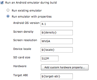 Android Emulator configuration