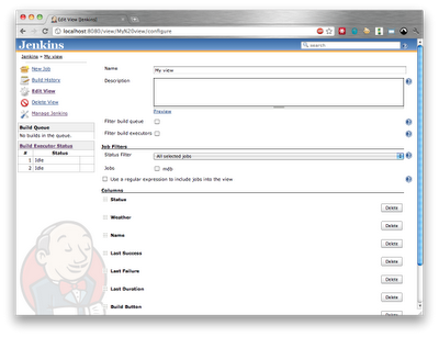 Jenkins View Configuration screen