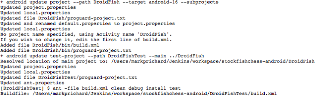 Jenkins android update project