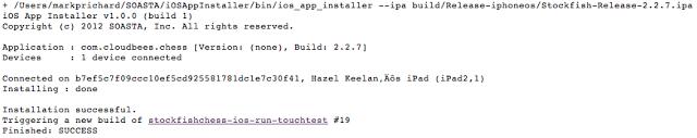 iOS App Installer output