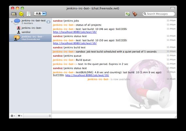 Jenkins IRC bot plugin