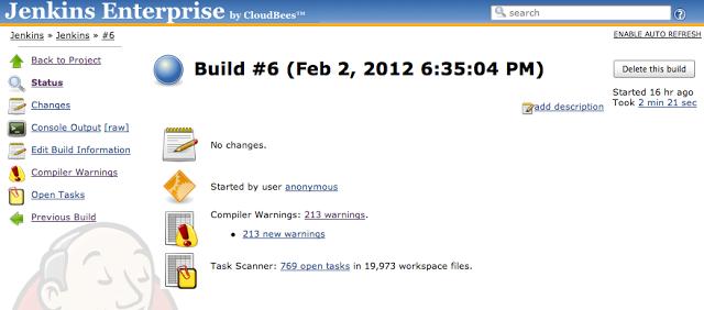 Jenkins build status page