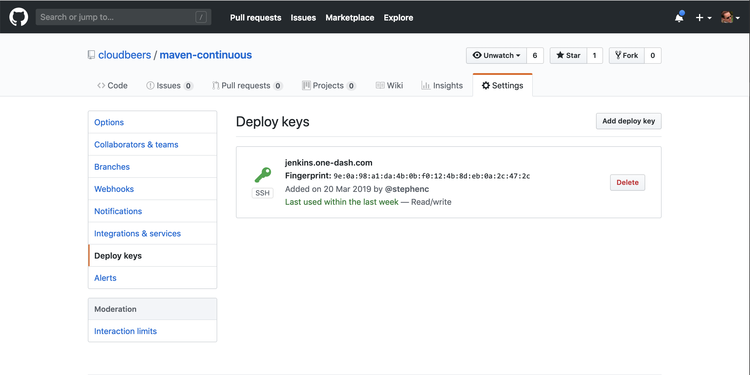 A deploy key configured in the GitHub repository