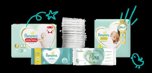 Pampers blöjor och tvättservetter för småbarn