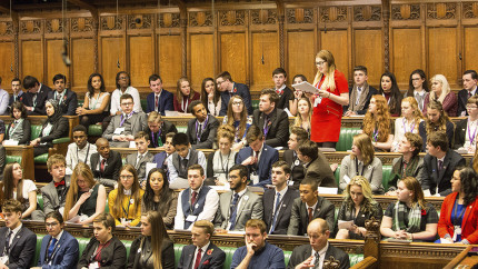 Students from around the country participate in a Youth Parliament session in the House of Commons