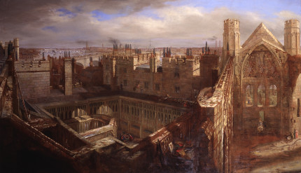 Panorama of the Ruins of the Old Palace of Westminster, 1834, Painting, by George Scharf © Parliamentary Art Collection WOA 3793