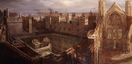 A painting by George Scharf showing the ruins of the House of Commons after the fire of 1834.