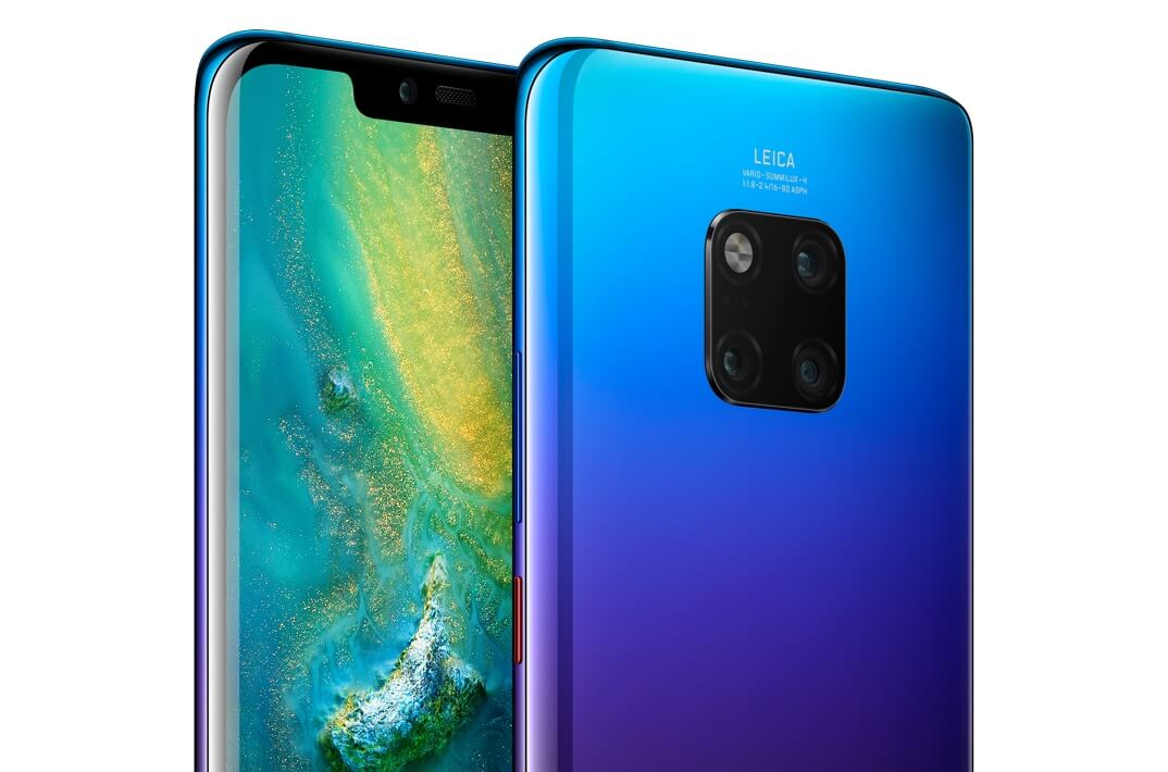 HUAWEI Mate 20 Pro front and rear view in twilight.