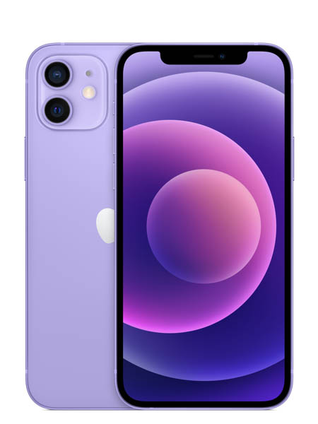 The back and front view of two purple iPhone 12 Pro models.