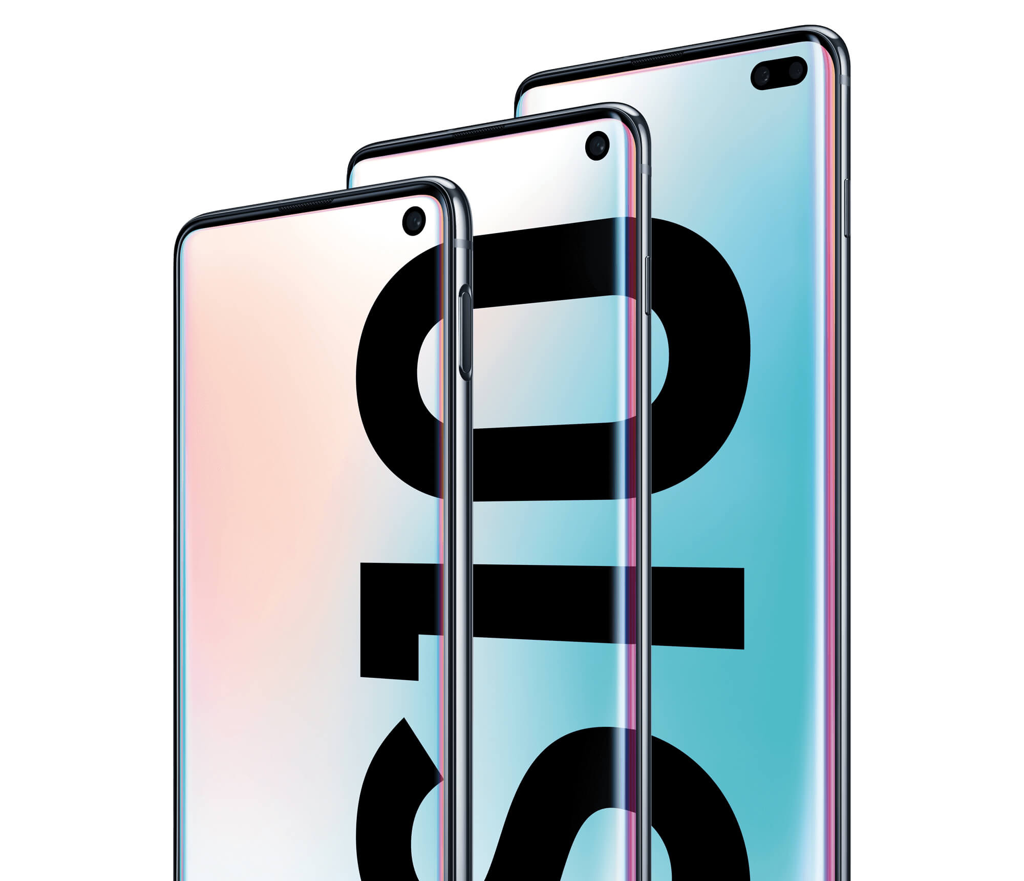 Samsung Galaxy S10, S10+ and S10e lined up together.