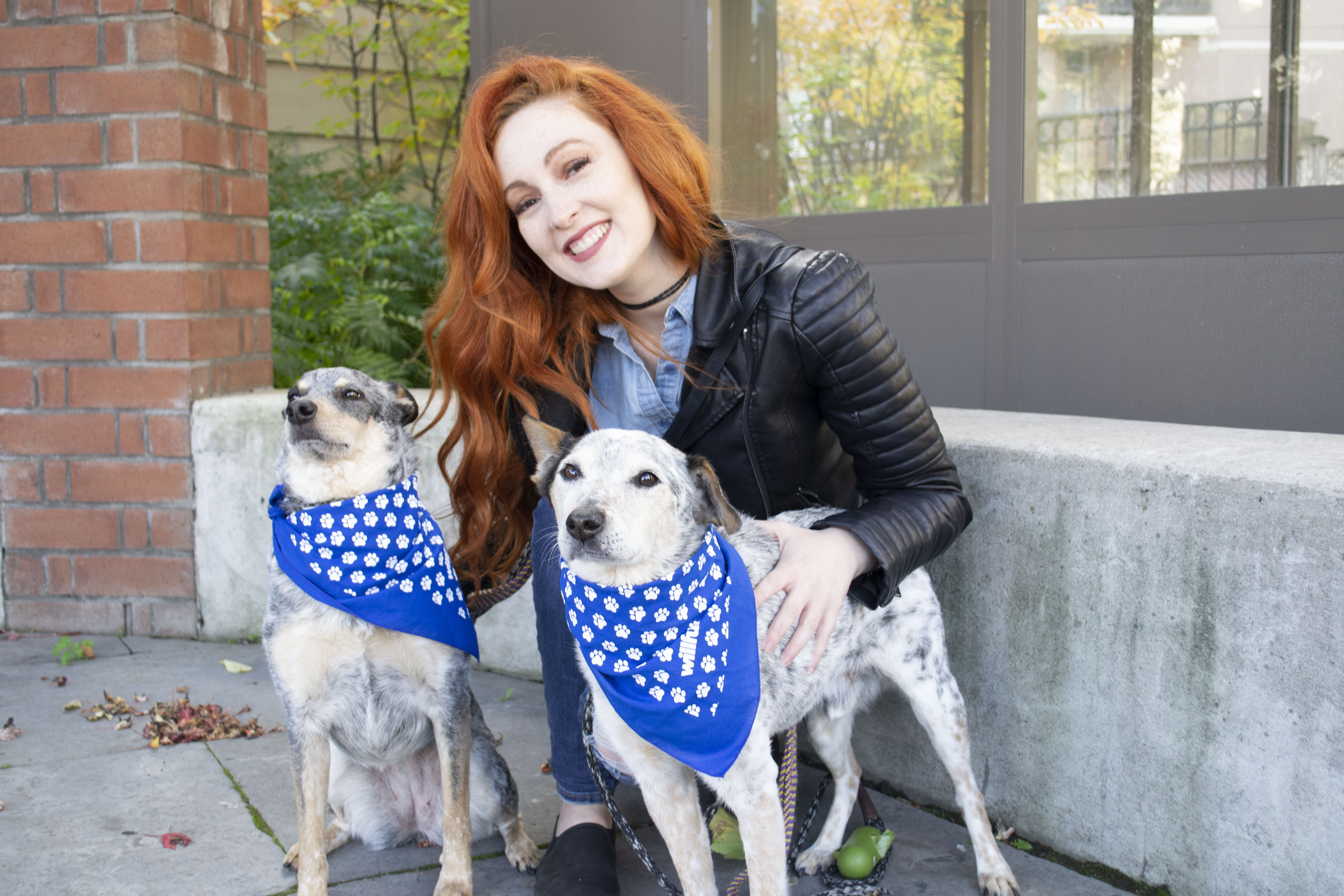 Redemption Paws Founder and her adopted dogs - Indie Nicole and Irwin