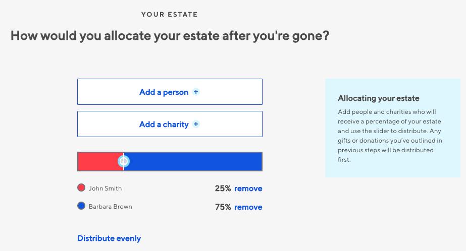Willful dividing residual estate screenshot
