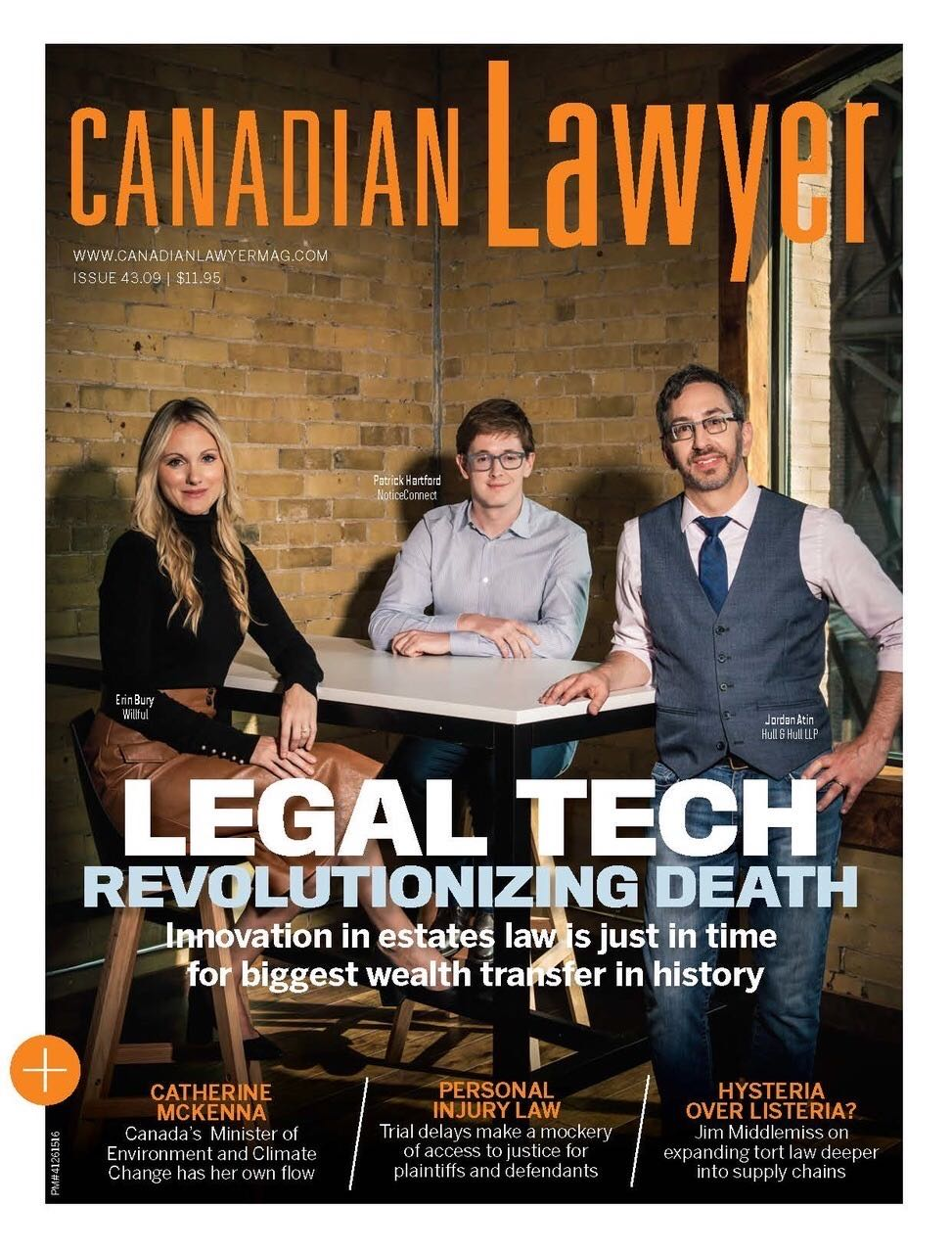 Erin Bury Willful CEO Canadian Lawyer Cover - Legal Tech Revolutionizing Death