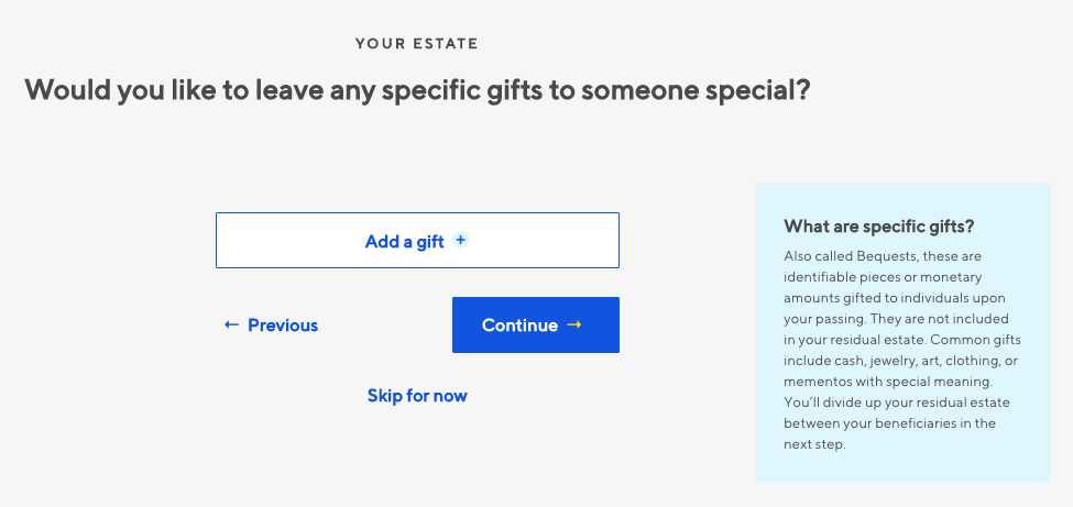 Willful Specific Gifts Screenshot