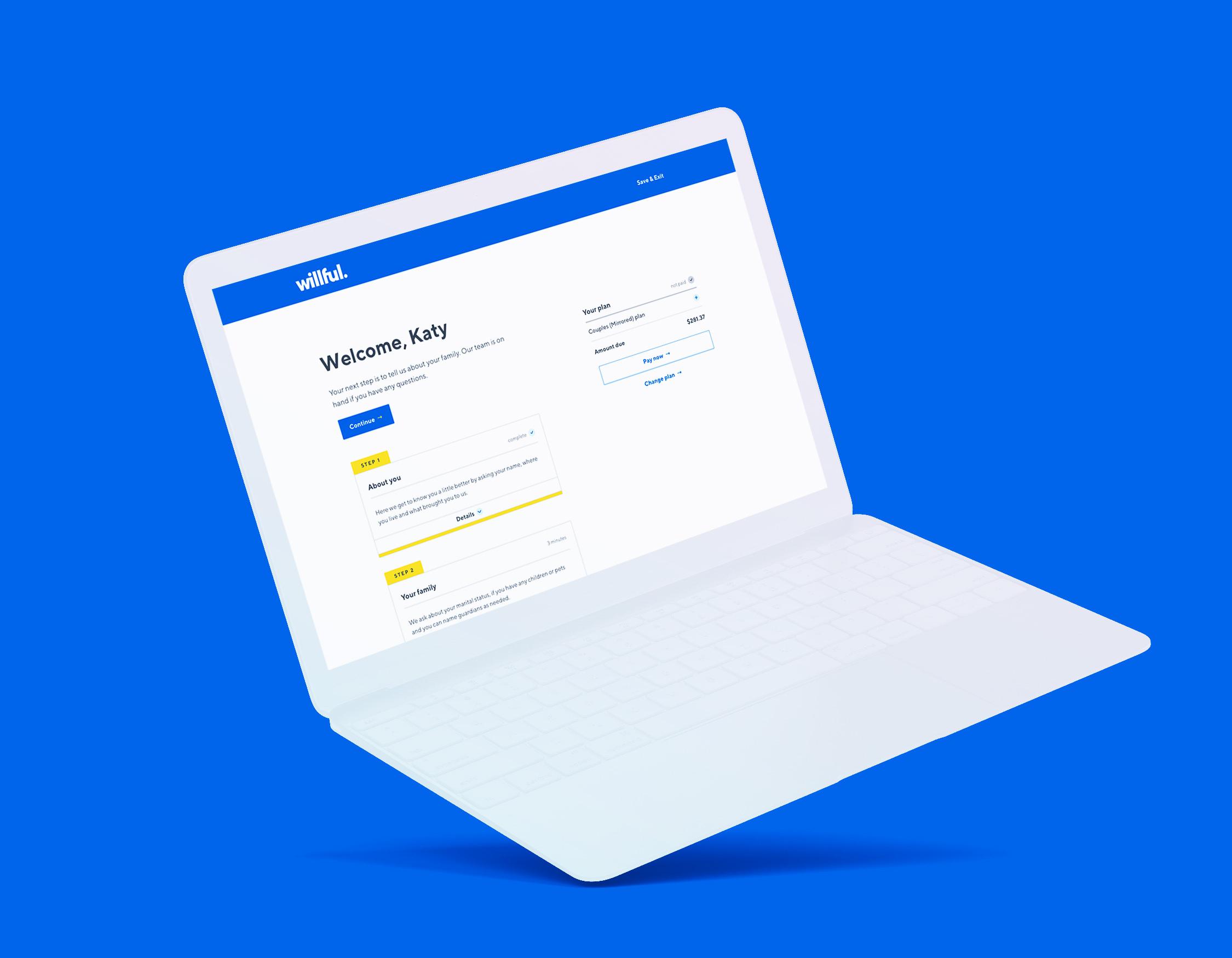 Willful app on laptop