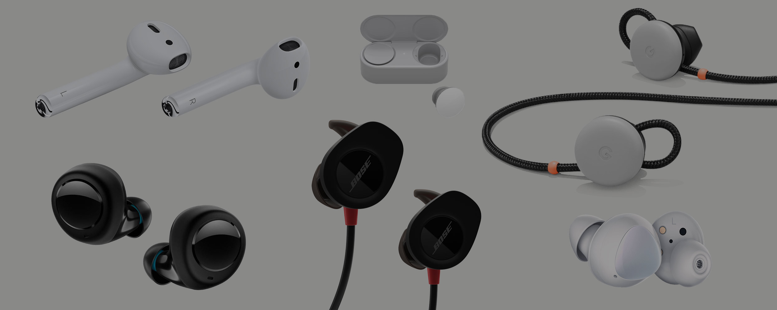 A look at the various earbuds in the industry: Apple Airpods, Microsoft Surface Buds, Google Pixel Buds, and more.