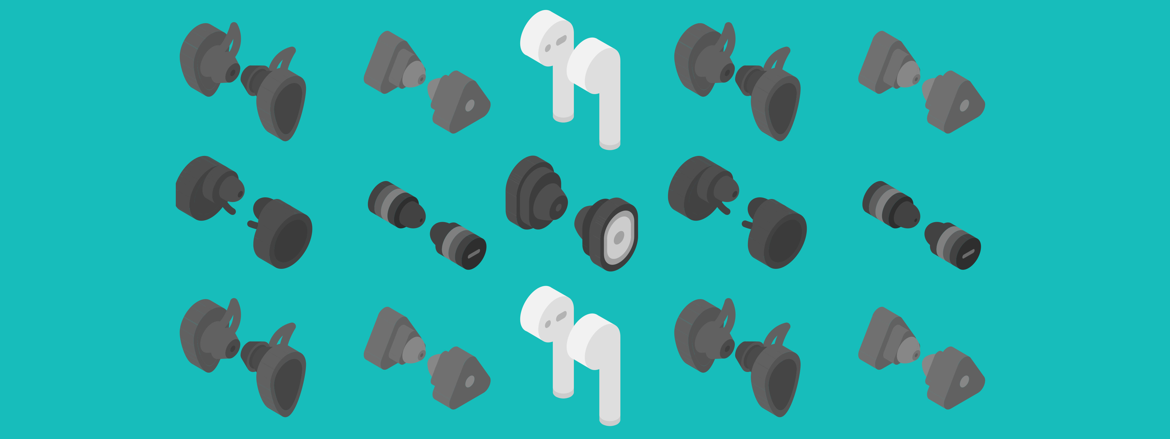 A pattern of various earbuds and headphones.