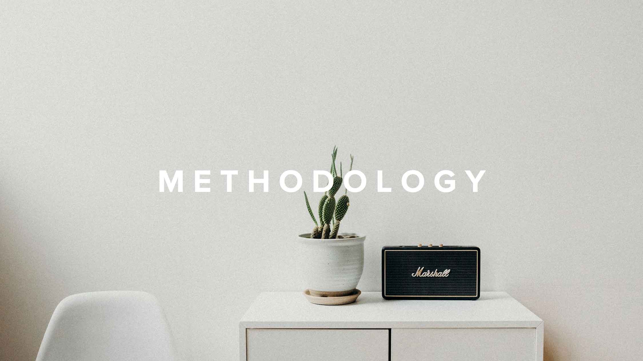 """Methodology"" atop a Marshall smart speaker."