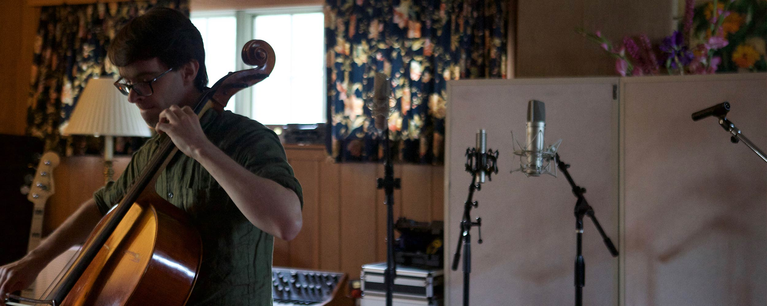 Cellist and composer, Robert Karpay, recording cello for the Sound of the Color of the Year.