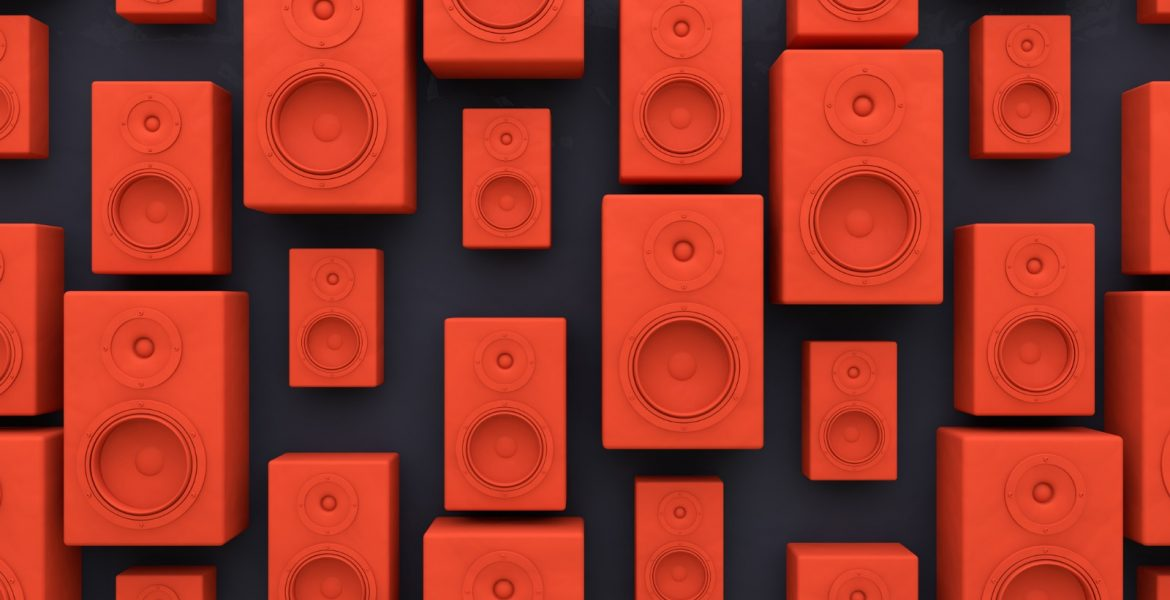 An array of red speakers.