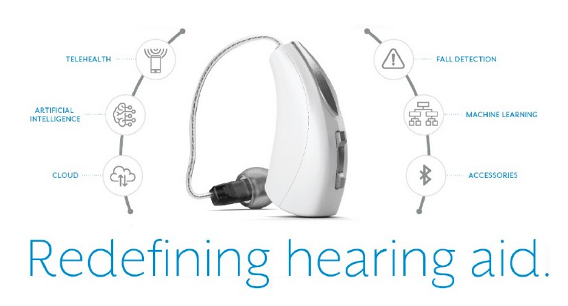 A modern hearing aid, showcasing a range of new features including AI, cloud computing, and fall detection.