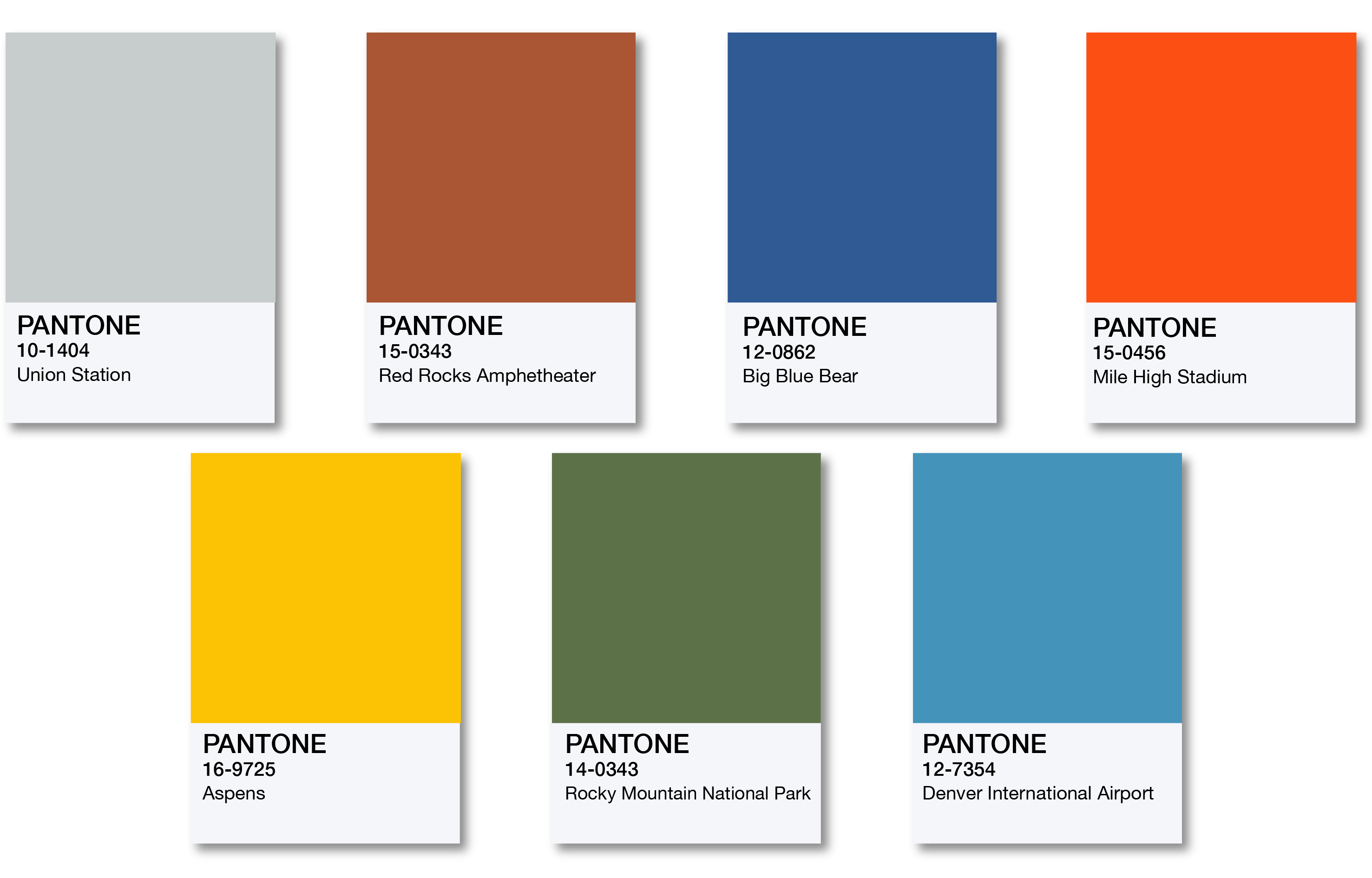 Various Pantone color swatches.