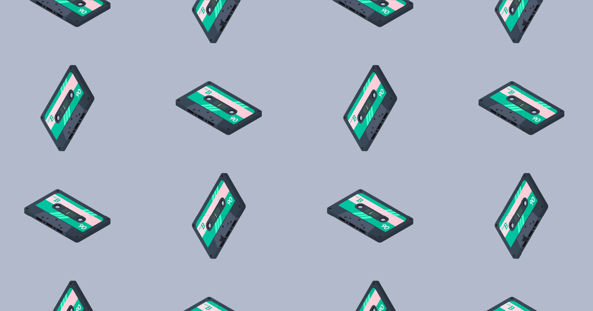A wallpaper pattern of cassette tapes.