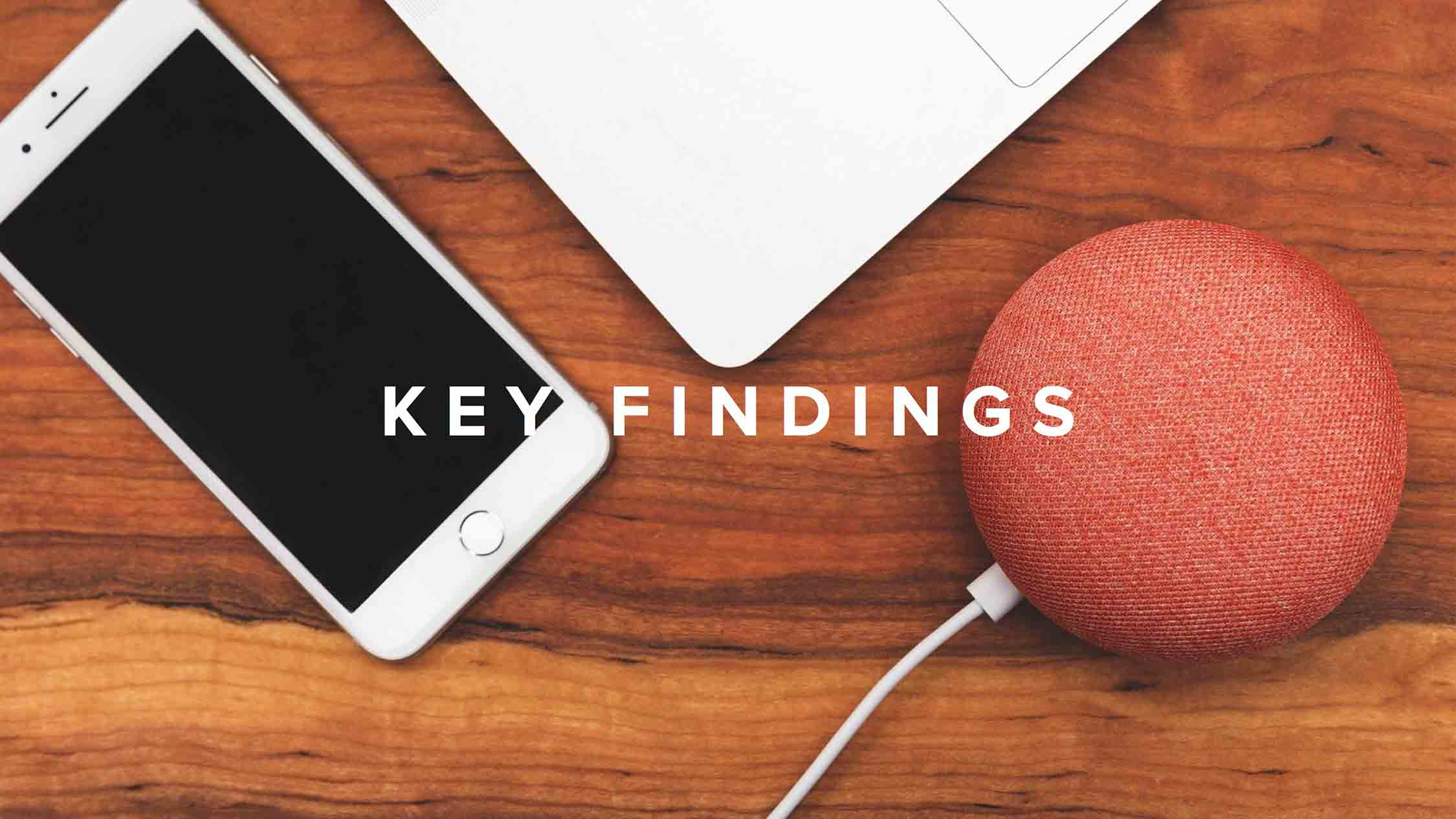 """Key Findings"" written atop an iPhone, MacBook, and Google Home Mini."