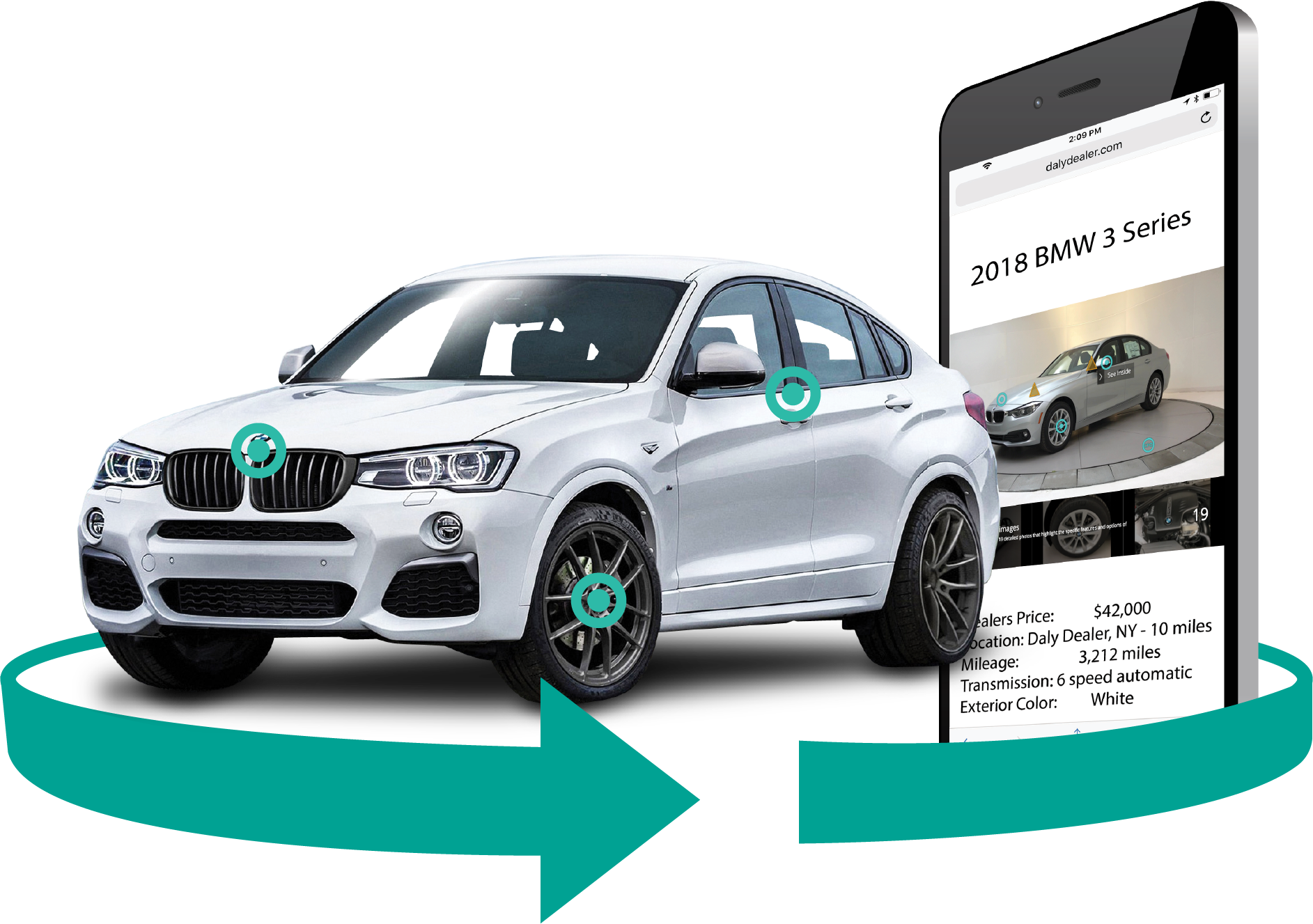 SpinCar app featuring a BMW.