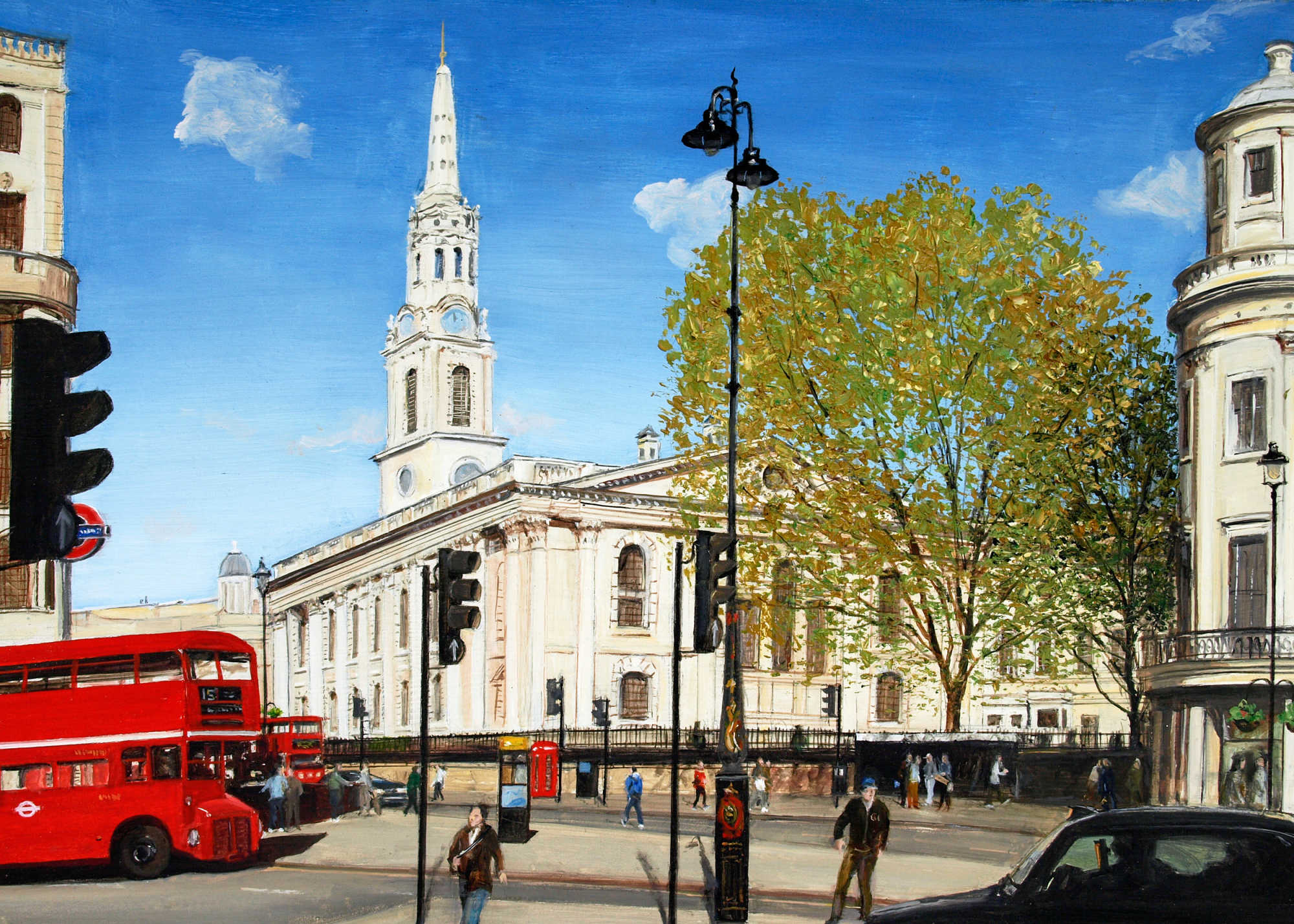 St Martin's Church, from the Strand, London (England)