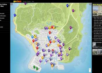 GTA Online interactive map featuring all the properties