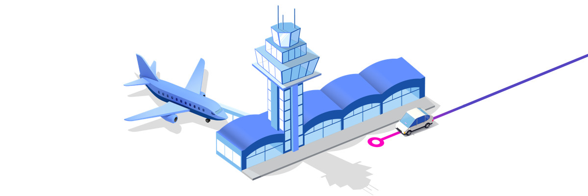 Airport Illustration with a Lyft