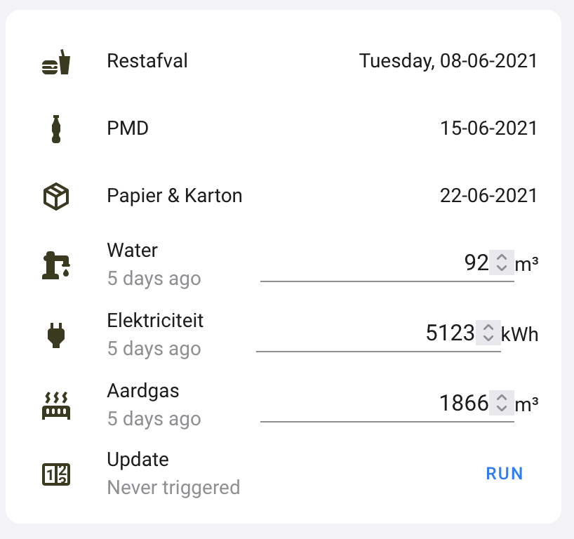 A Lovelace (UI) card with our inputs and the button so submit them to EnergieID