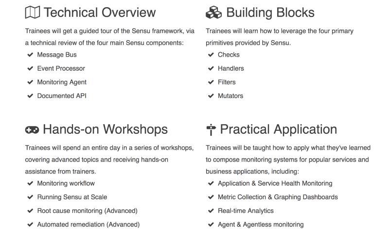 There's a lot of value to unpack out of Sensu and our training is here to help