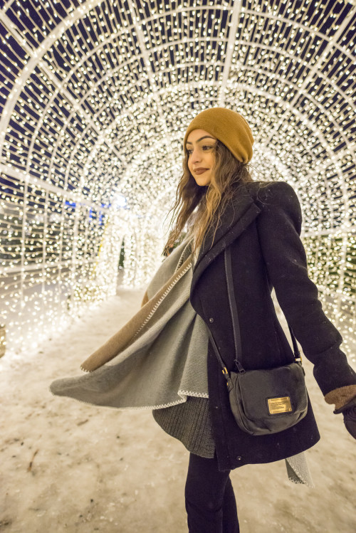 Enchant-Christmas-Light-Tunnel-Young-Woman