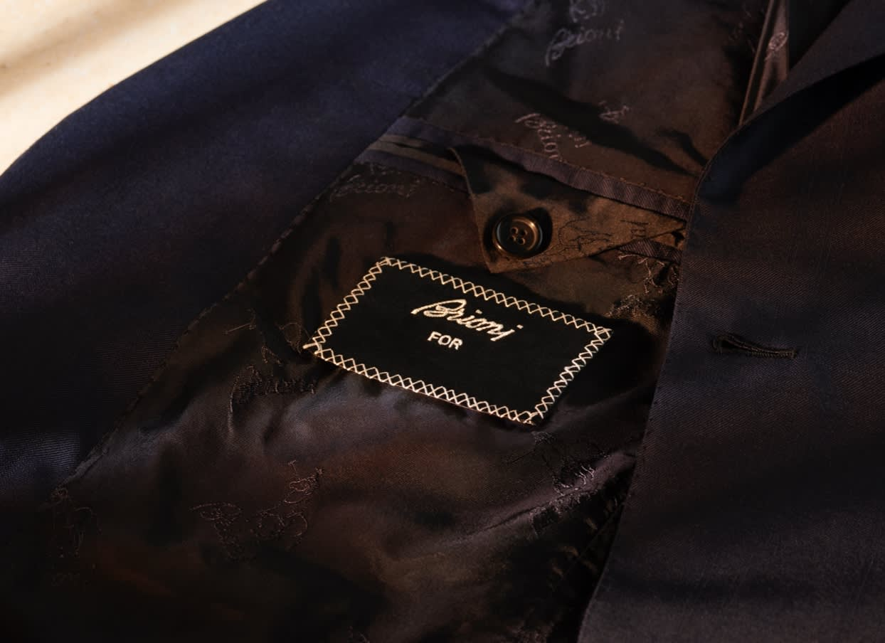 A Brioni Bespoke jacket with customised label