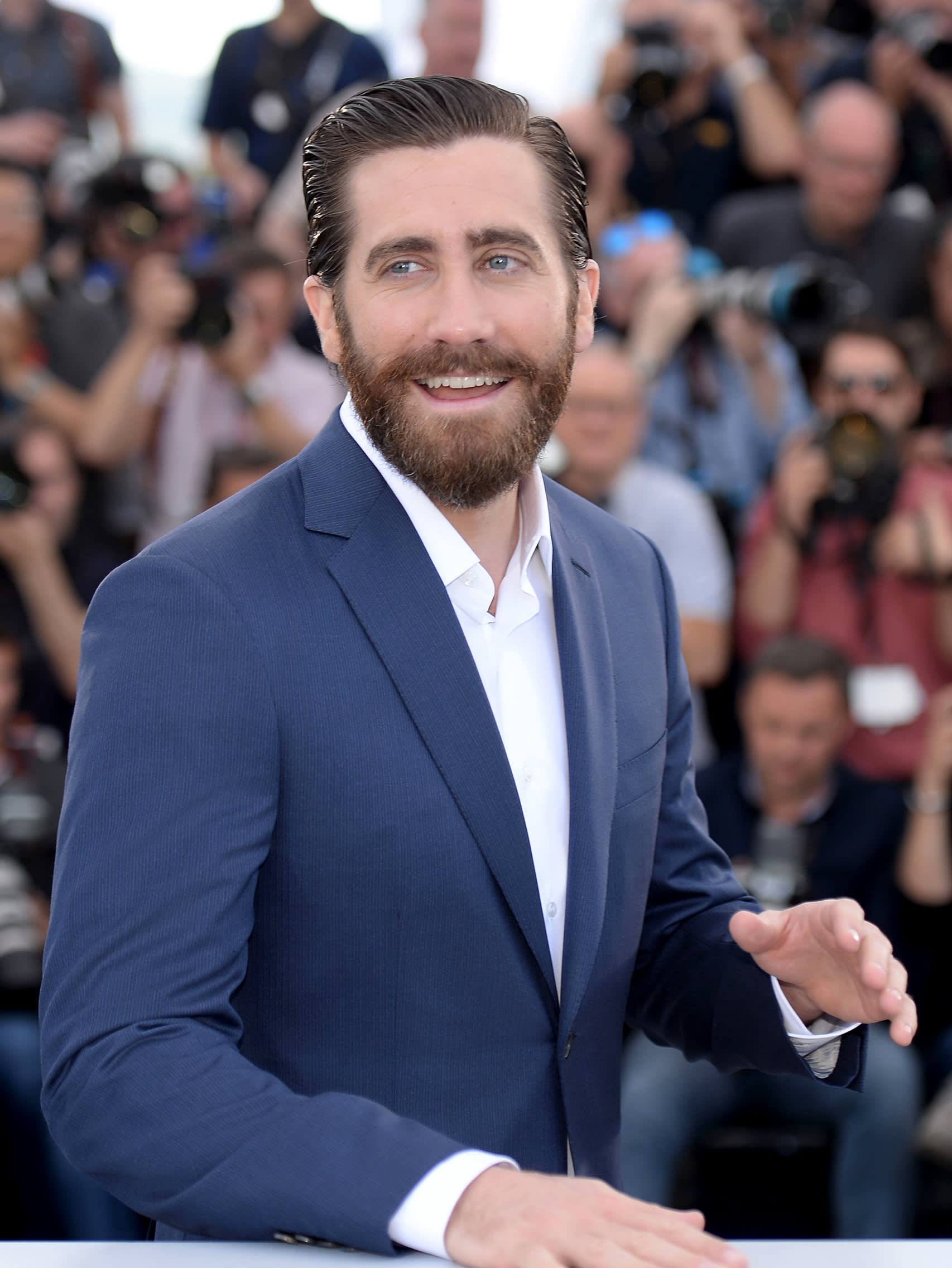 Jake Gyllenhaal wearing a Brioni bespoke blue suit
