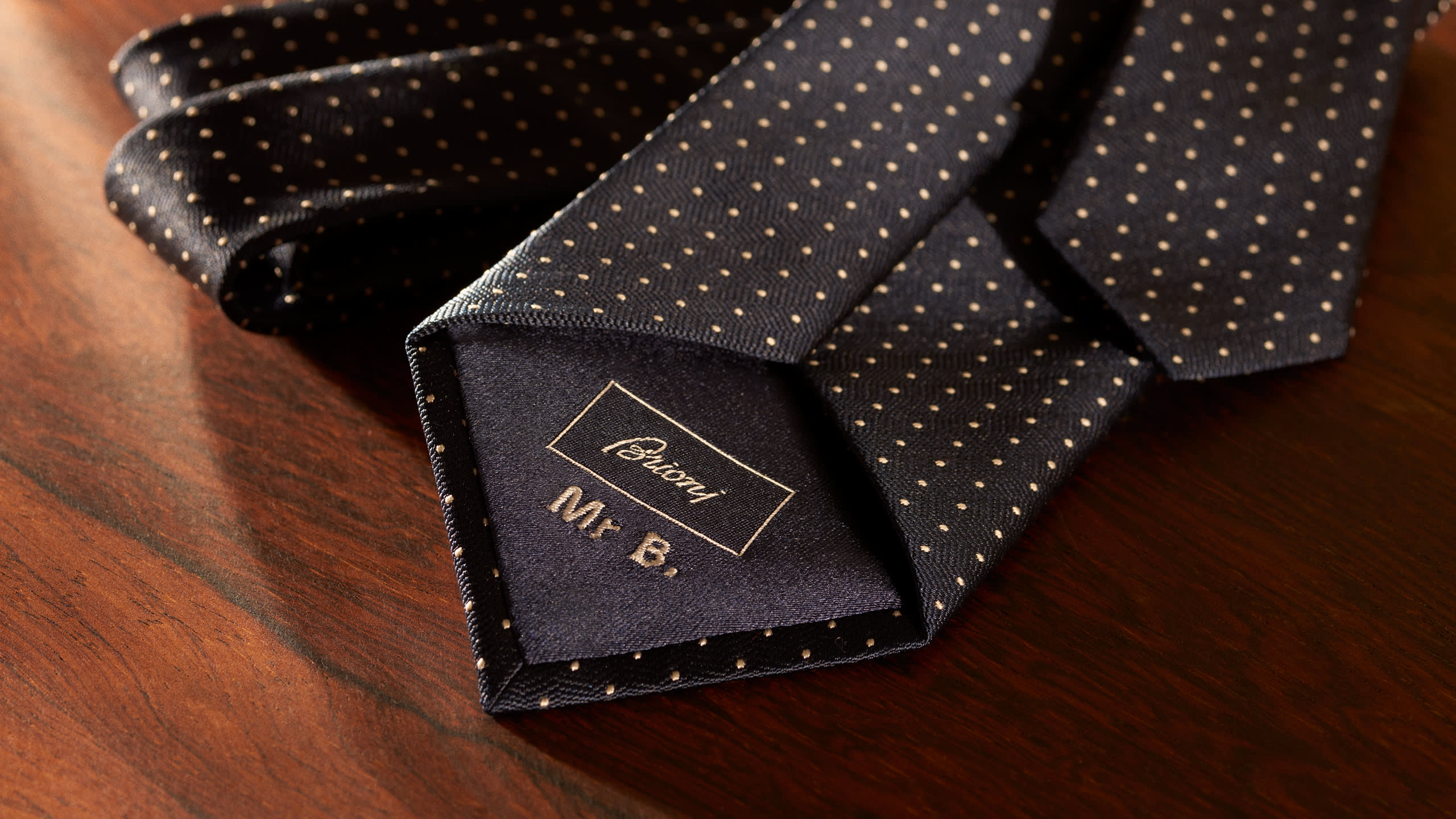 A Brioni made-to-order tie with customised monogram