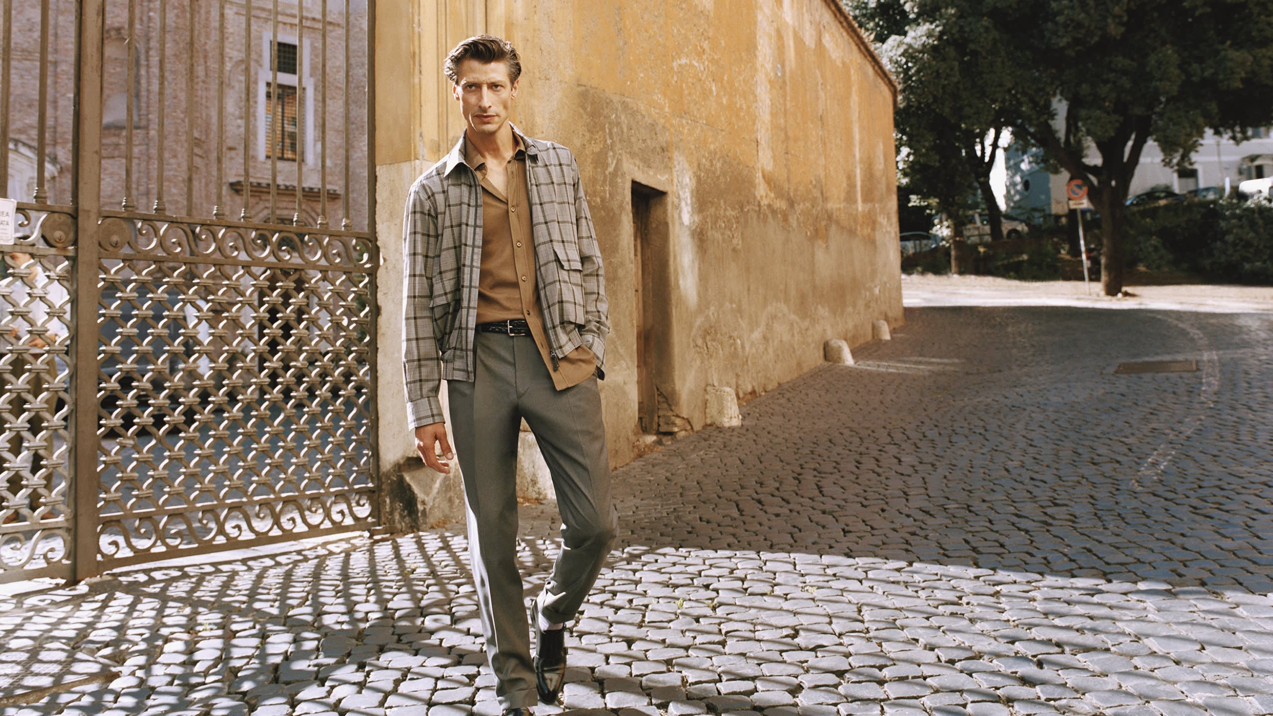 Male model wearing a daywear outfit from the Brioni Spring/Summer 2021 Collection