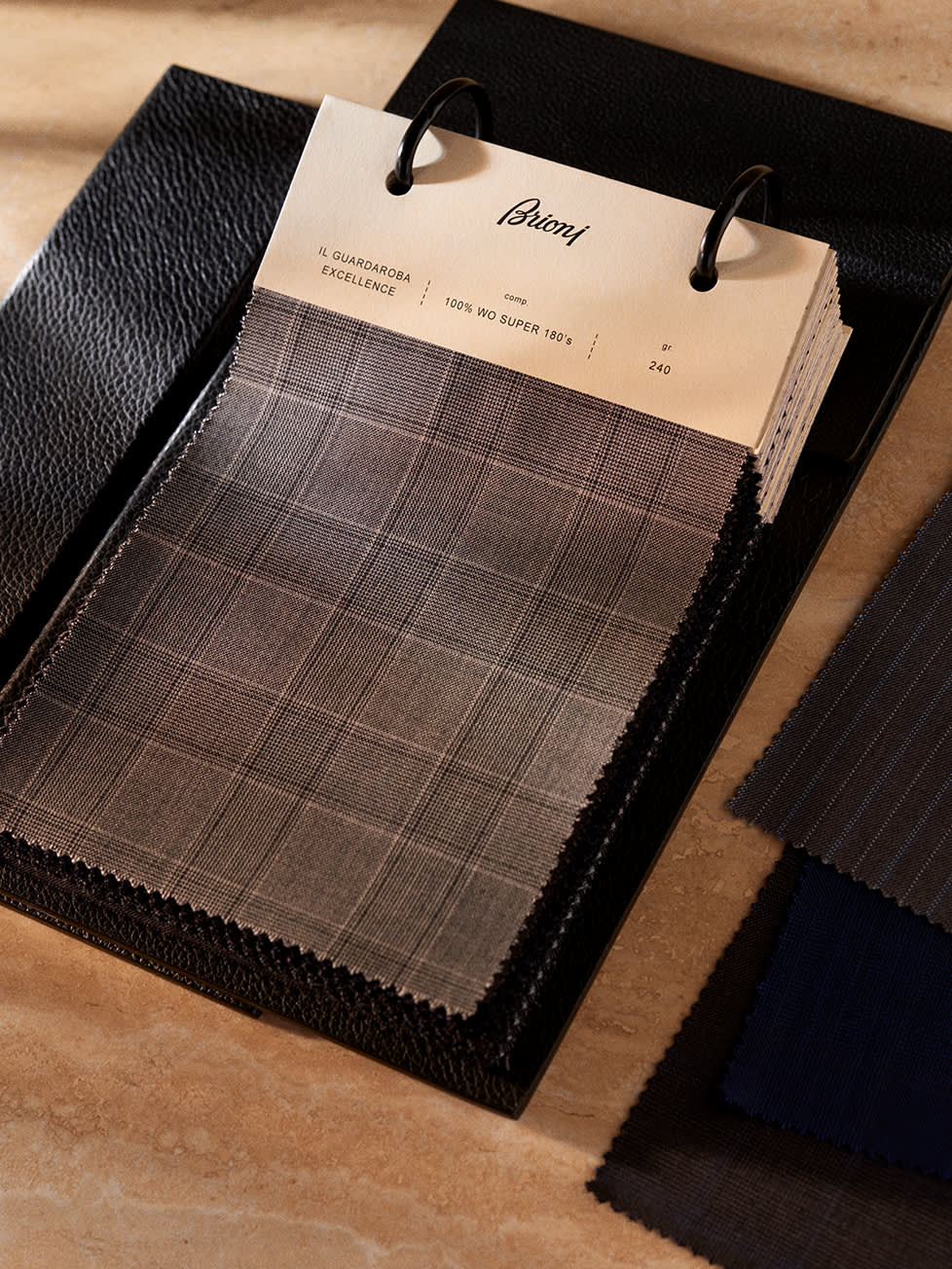 A selection of Brioni bespoke fabrics