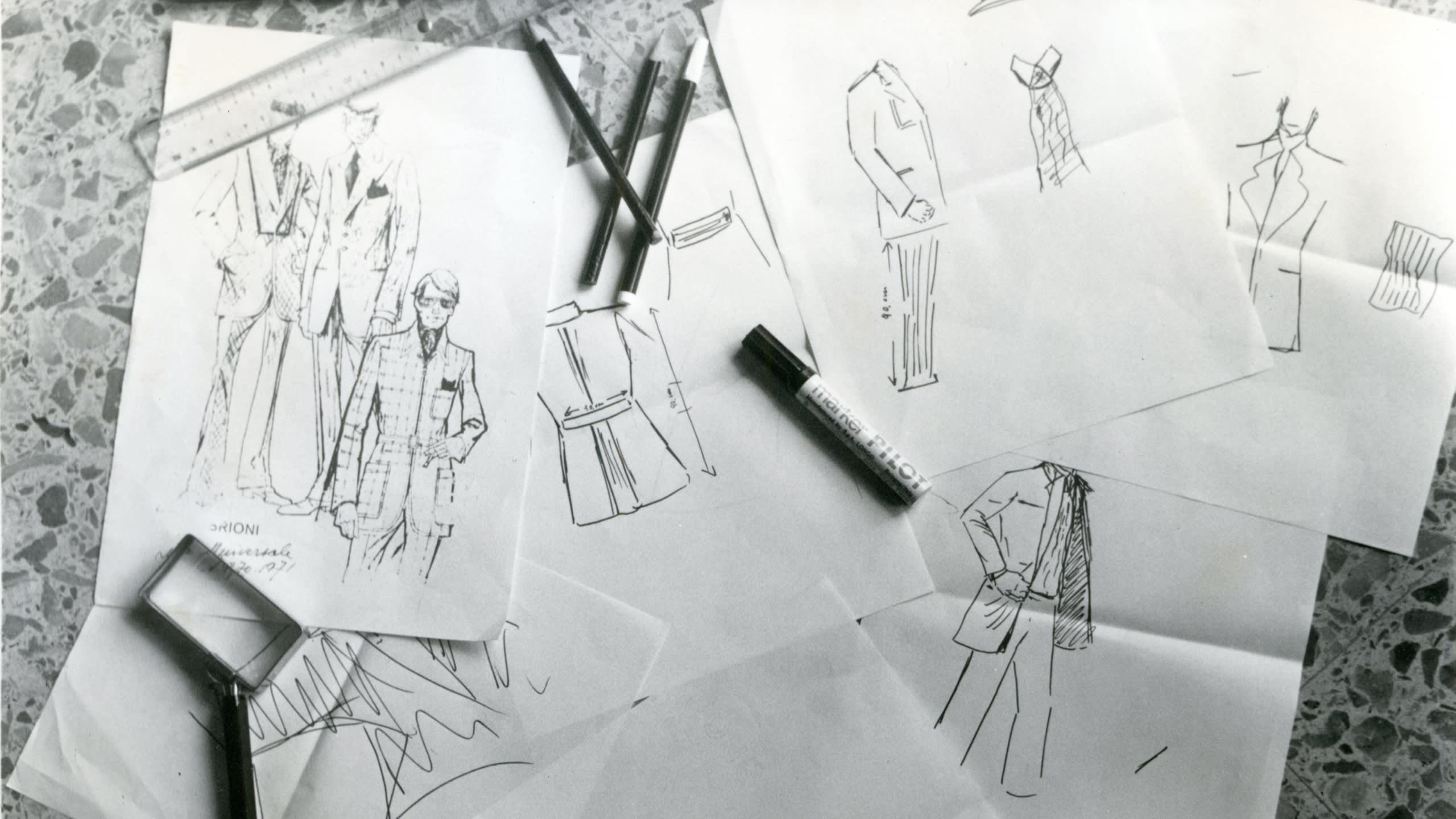 Brioni sketches from the 1970s