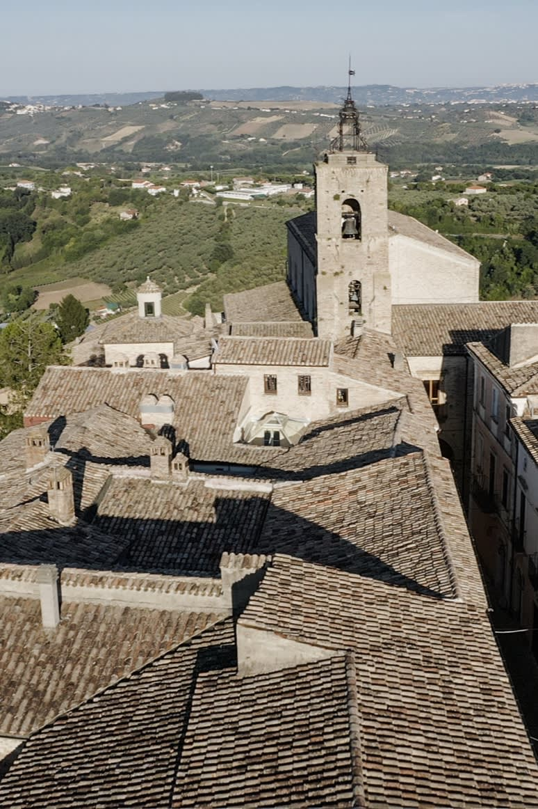 An aerial view of Penne, Italy, hometown of the Brioni tailoring atelier