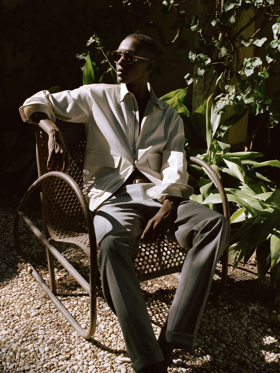 Male model wearing garments from the Brioni Spring/Summer 2021 Collection