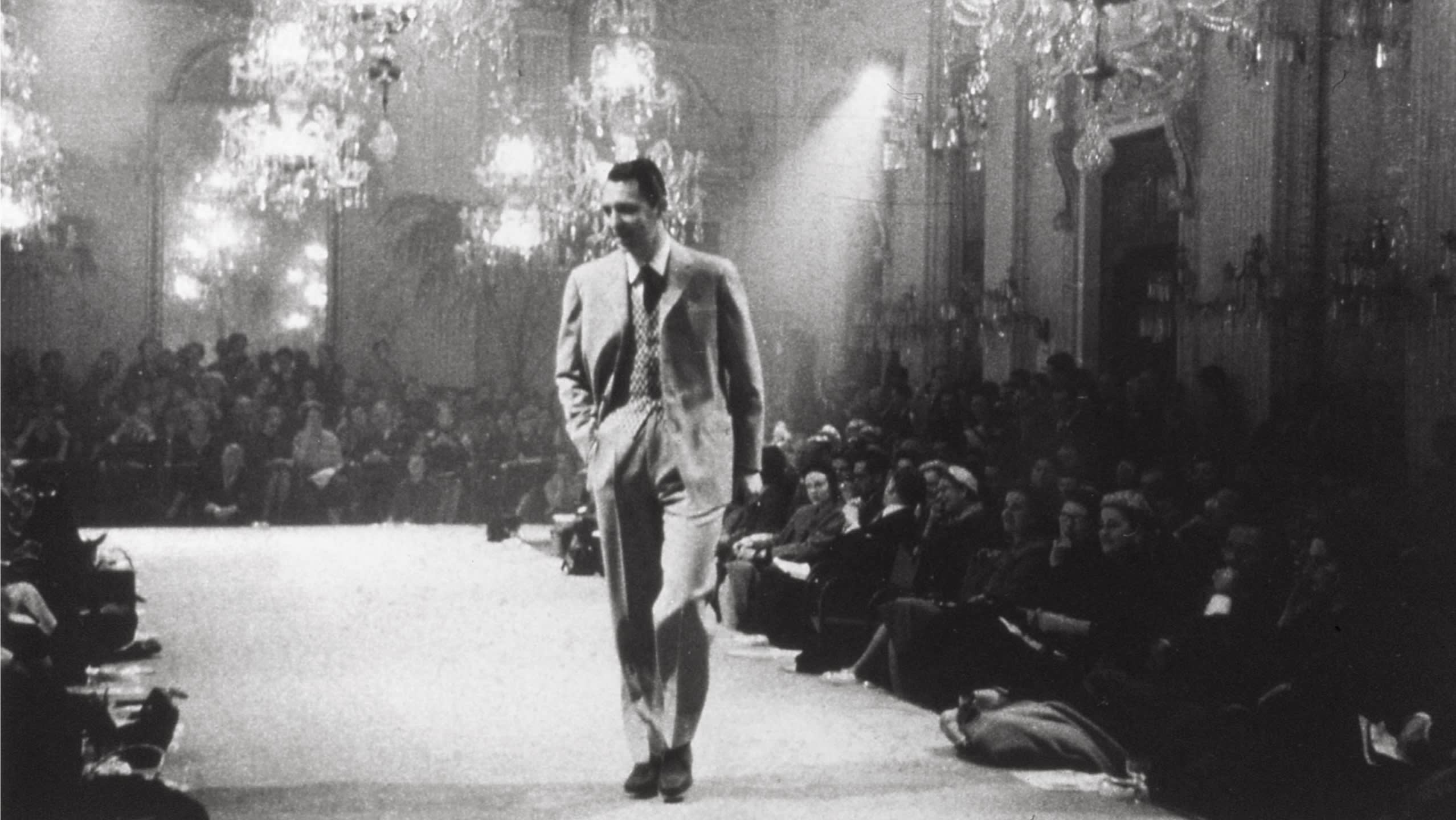 The first Brioni fashion show staged in the Sala Bianca at Palazzo Pitti in Florence, 1952