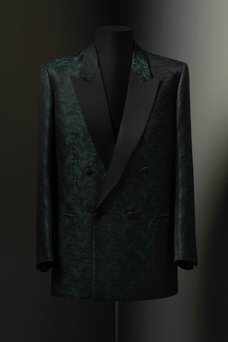 A Brioni double-breasted tuxedo jacket in silk paisley with black satin lapels, 1960s